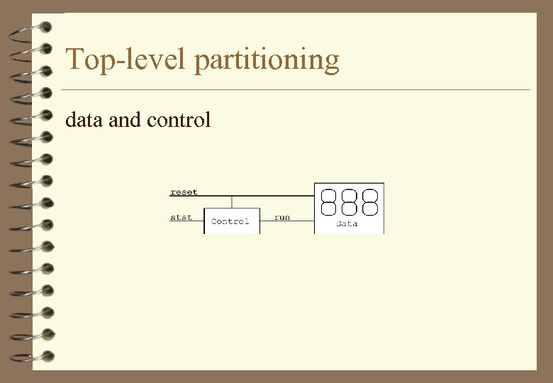 Top-level partitioning data and control