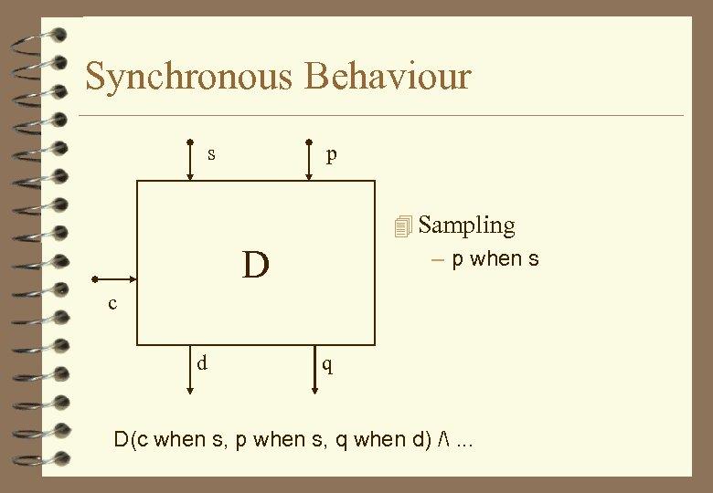 Synchronous Behaviour s p 4 Sampling – p when s D c d q