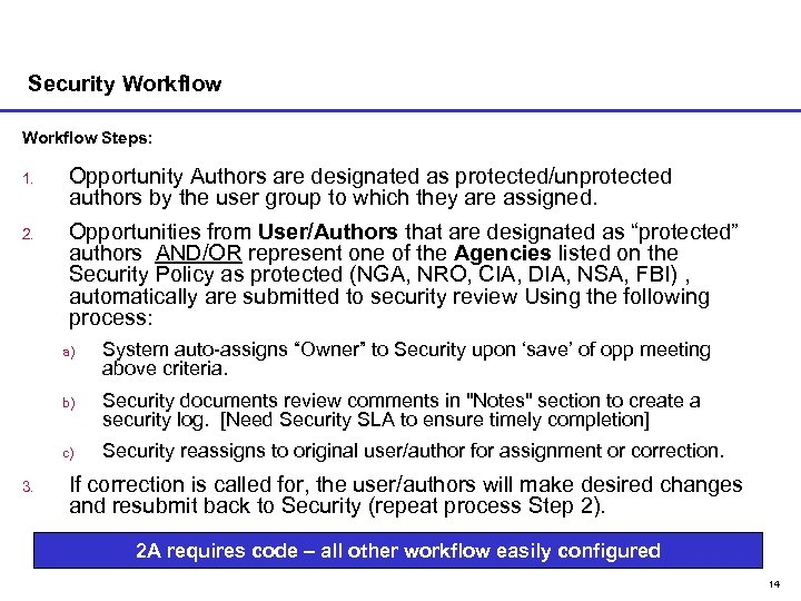 Security Workflow Steps: 1. Opportunity Authors are designated as protected/unprotected authors by the user