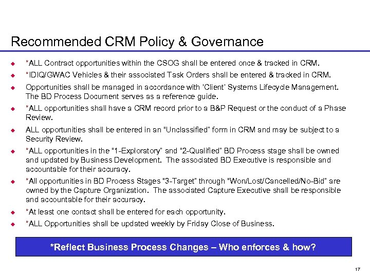 Recommended CRM Policy & Governance u *ALL Contract opportunities within the CSOG shall be