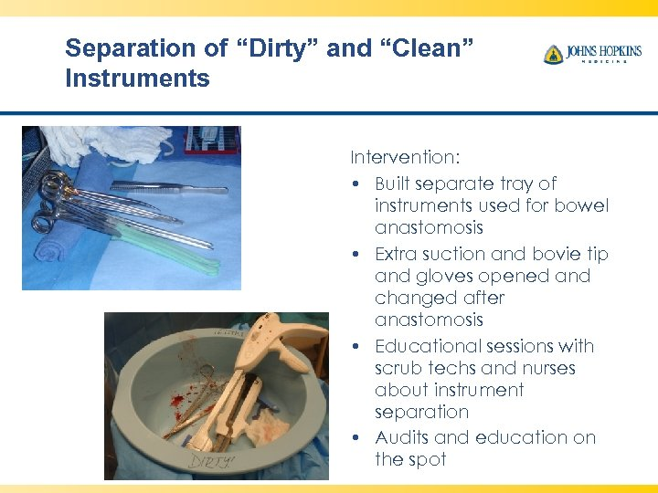 "Separation of ""Dirty"" and ""Clean"" Instruments Intervention: • Built separate tray of instruments used"