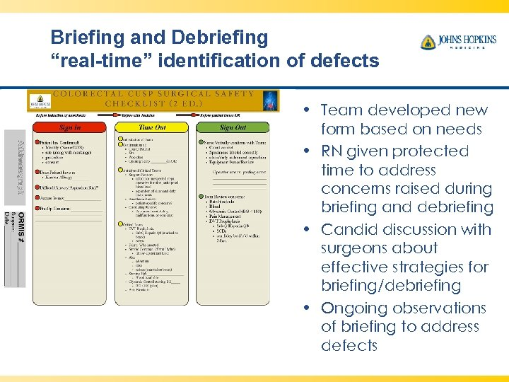"Briefing and Debriefing ""real-time"" identification of defects • Team developed new form based on"