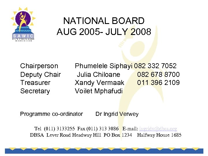 NATIONAL BOARD AUG 2005 - JULY 2008 Chairperson Deputy Chair Treasurer Secretary Phumelele Siphayi