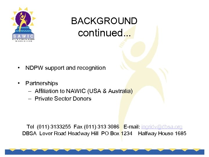 BACKGROUND continued. . . • NDPW support and recognition • Partnerships – Affiliation to