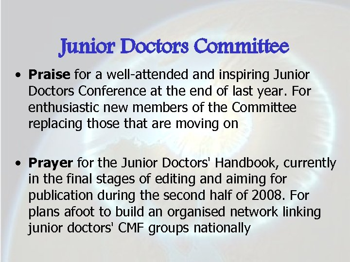 Junior Doctors Committee • Praise for a well-attended and inspiring Junior Doctors Conference at