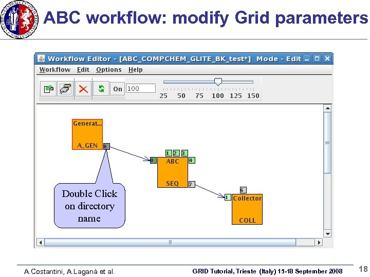 ABC workflow: modify Grid parameters Double Click on directory name A. Costantini, A. Laganà