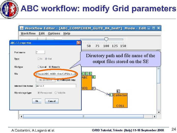 ABC workflow: modify Grid parameters Directory path and file name of the output files