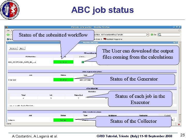 ABC job status Status of the submitted workflow The User can download the output