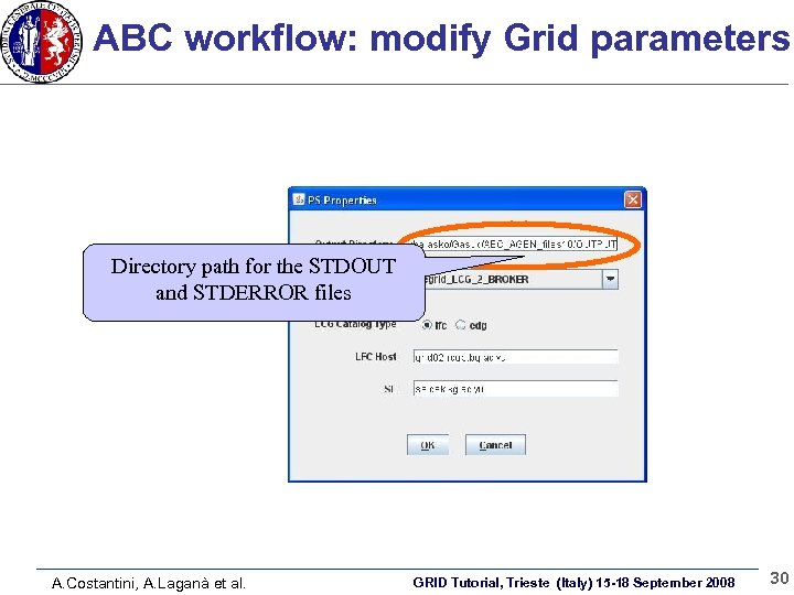 ABC workflow: modify Grid parameters Directory path for the STDOUT and STDERROR files A.