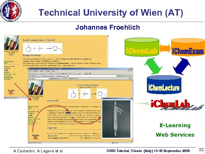 Technical University of Wien (AT) Johannes Froehlich E-Learning Web Services A. Costantini, A. Laganà