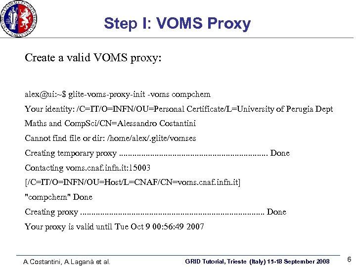 Step I: VOMS Proxy Create a valid VOMS proxy: alex@ui: ~$ glite-voms-proxy-init -voms compchem