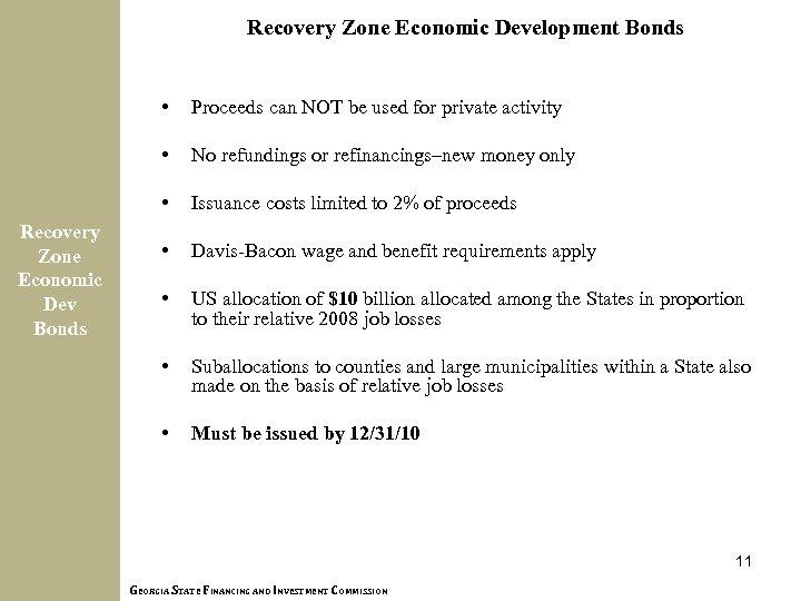 Recovery Zone Economic Development Bonds • • No refundings or refinancings–new money only •