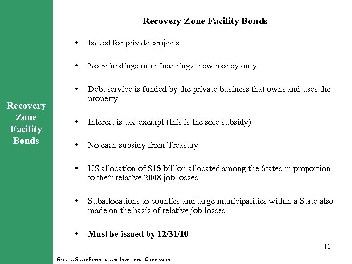 Recovery Zone Facility Bonds • • No refundings or refinancings–new money only • Recovery