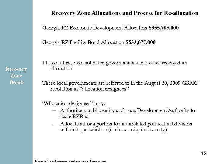 Recovery Zone Allocations and Process for Re-allocation Georgia RZ Economic Development Allocation $355, 785,