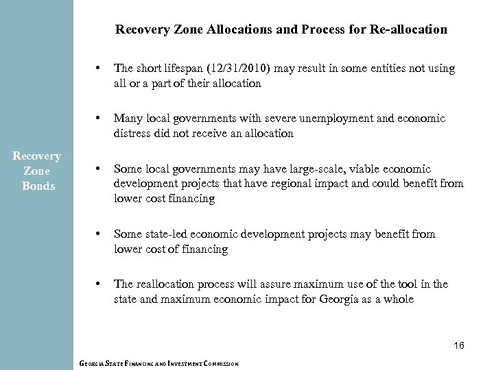 Recovery Zone Allocations and Process for Re-allocation • • Recovery Zone Bonds The short
