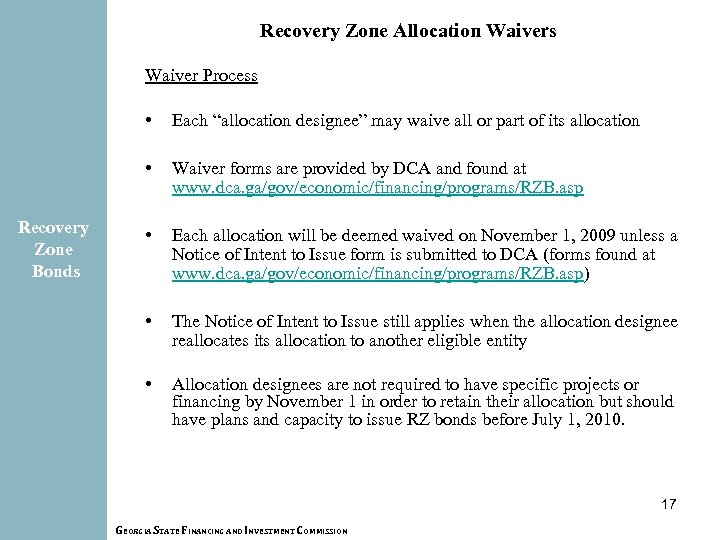 """Recovery Zone Allocation Waivers Waiver Process • • Recovery Zone Bonds Each """"allocation designee"""""""