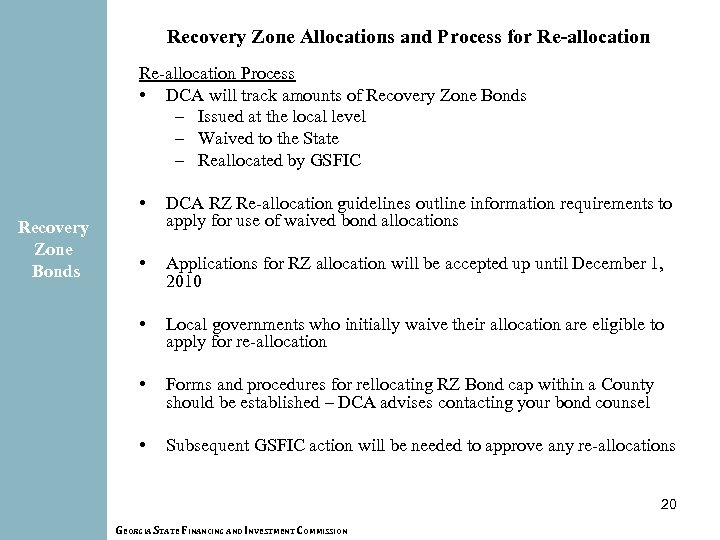 Recovery Zone Allocations and Process for Re-allocation Process • DCA will track amounts of