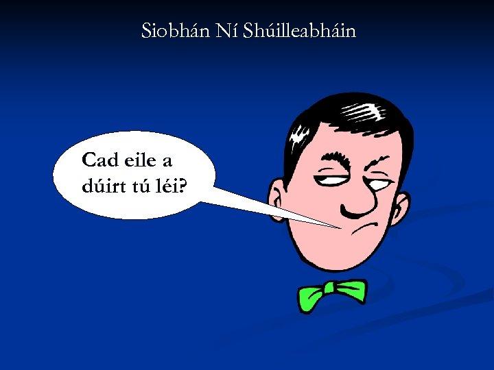 Siobhán Ní Shúilleabháin Cad eile a dúirt tú léi?
