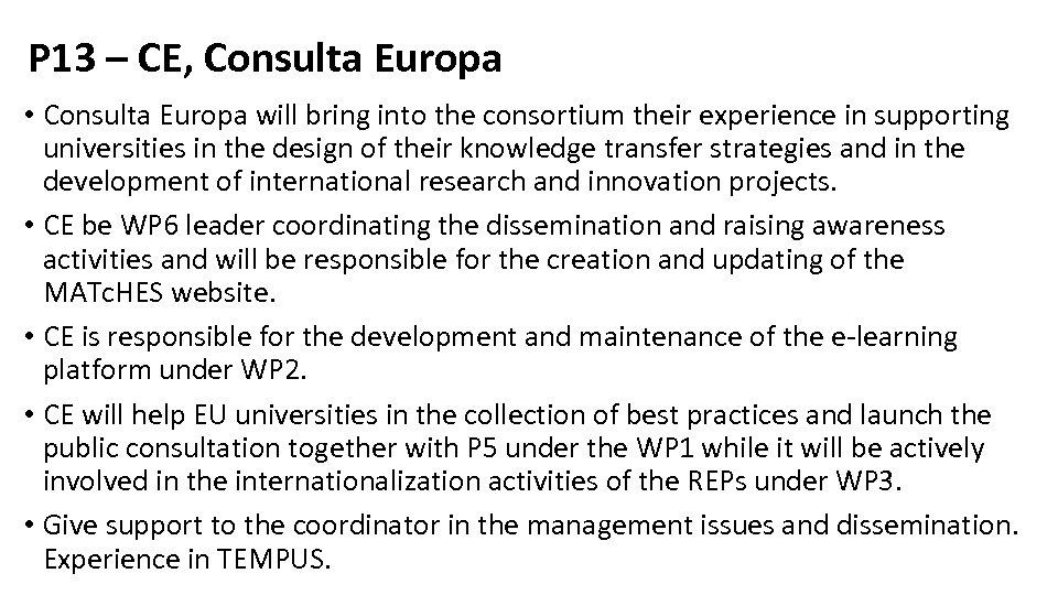 P 13 – CE, Consulta Europa • Consulta Europa will bring into the consortium