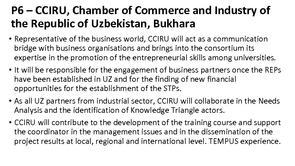 P 6 – CCIRU, Chamber of Commerce and Industry of the Republic of Uzbekistan,