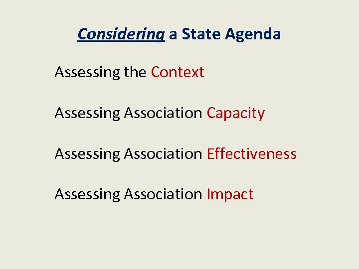Considering a State Agenda Assessing the Context Assessing Association Capacity Assessing Association Effectiveness Assessing