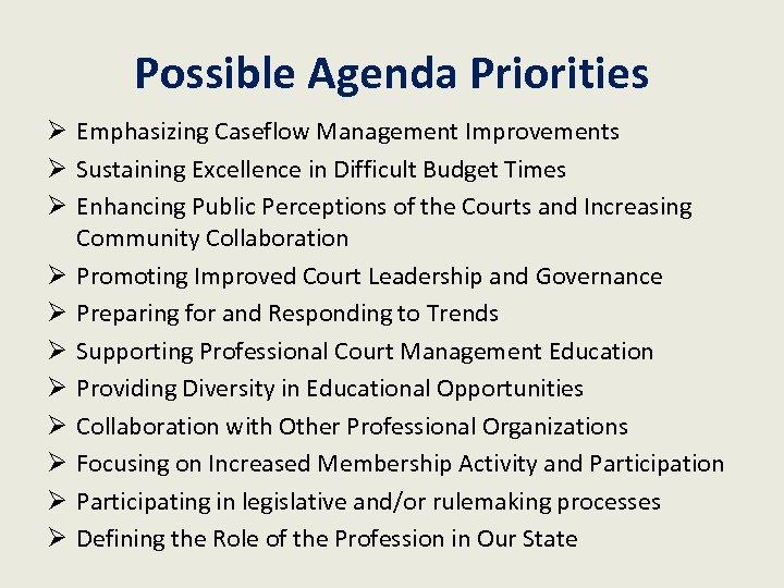 Possible Agenda Priorities Ø Emphasizing Caseflow Management Improvements Ø Sustaining Excellence in Difficult Budget