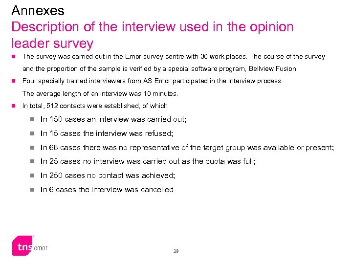 Annexes Description of the interview used in the opinion leader survey n The survey