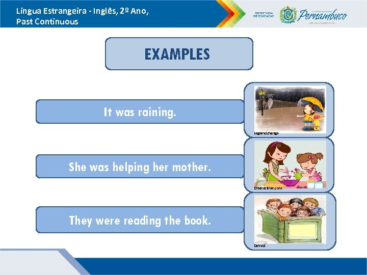 Língua Estrangeira - Inglês, 2º Ano, Past Continuous EXAMPLES It was raining. Legrandchange She