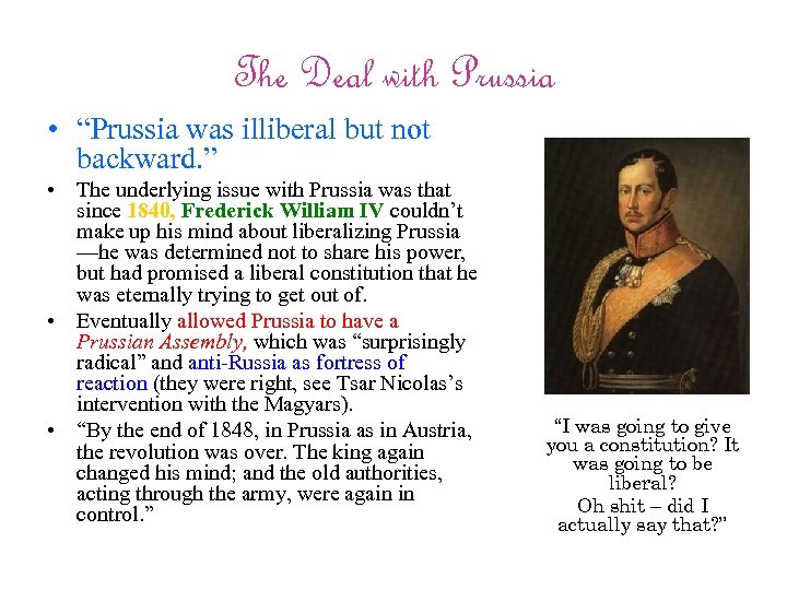 """The Deal with Prussia • """"Prussia was illiberal but not backward. """" • The"""