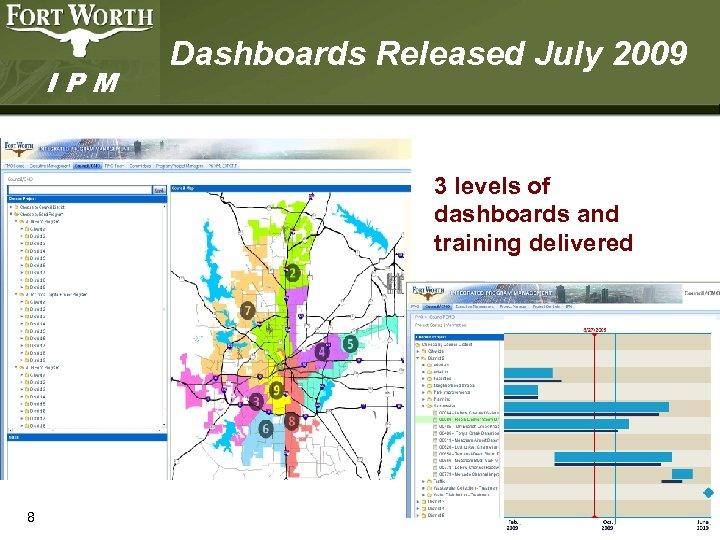 IPM Dashboards Released July 2009 3 levels of dashboards and training delivered 8