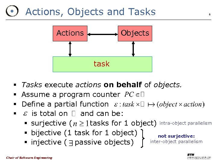 Actions, Objects and Tasks Actions 6 Objects task § Tasks execute actions on behalf