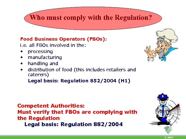 Who must comply with the Regulation? Food Business Operators (FBOs): i. e. all FBOs