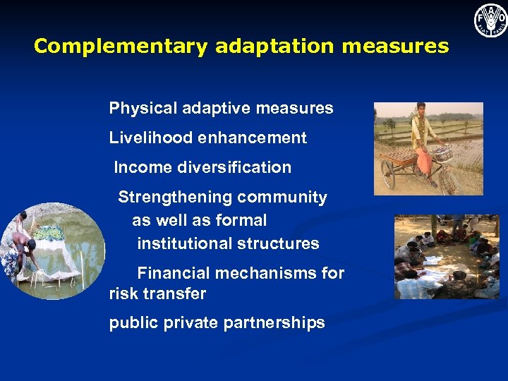 Complementary adaptation measures Physical adaptive measures Livelihood enhancement Income diversification Strengthening community as well