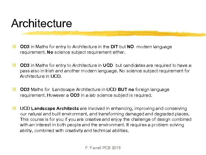 Architecture z OD 3 in Maths for entry to Architecture in the DIT but