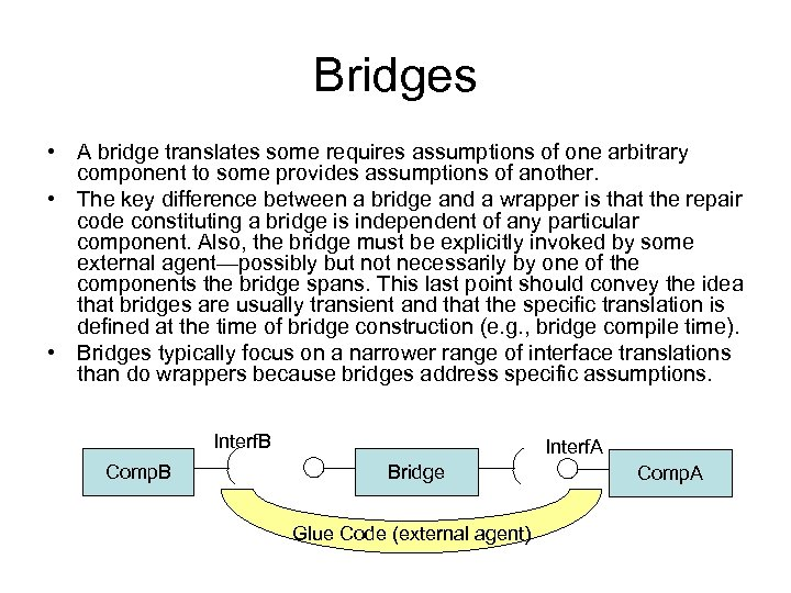 Bridges • A bridge translates some requires assumptions of one arbitrary component to some