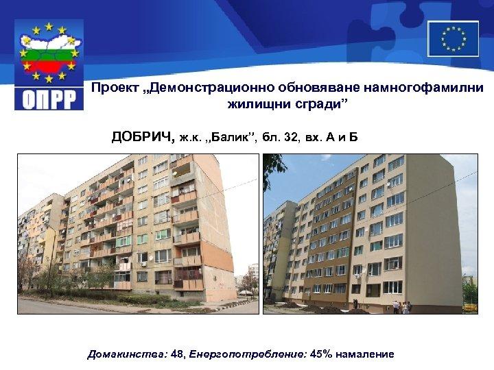 """Проект """"Демонстрационно обновяване намногофамилни жилищни сгради"""" ДОБРИЧ, ж. к. """"Балик"""", бл. 32, вх. А"""