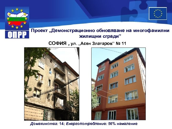 "Проект ""Демонстрационно обновяване на многофамилни жилищни сгради"" СОФИЯ , ул. ""Асен Златаров"" № 11"