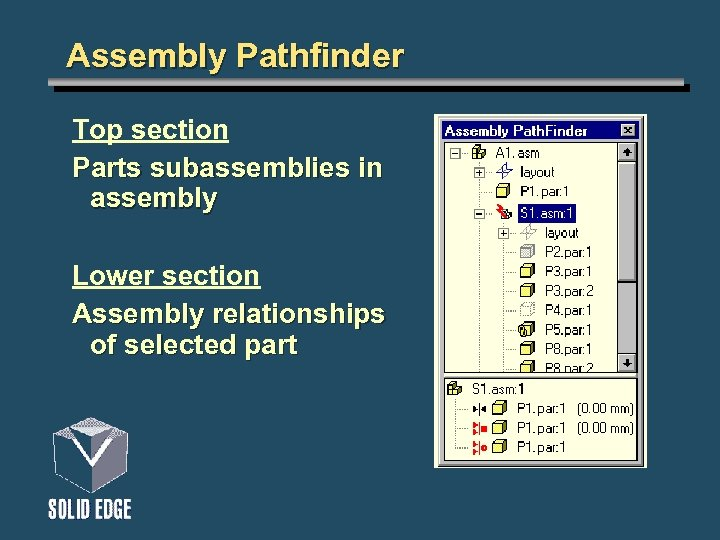 Assembly Pathfinder Top section Parts subassemblies in assembly Lower section Assembly relationships of selected