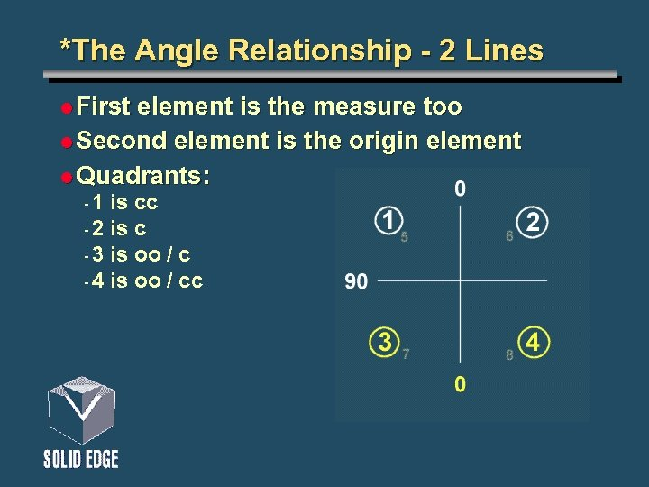 *The Angle Relationship - 2 Lines l First element is the measure too l