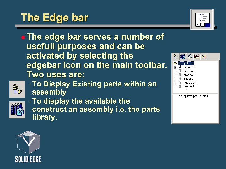 The Edge bar l The edge bar serves a number of usefull purposes and
