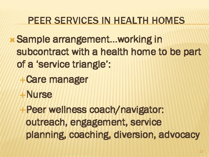 PEER SERVICES IN HEALTH HOMES Sample arrangement…working in subcontract with a health home to