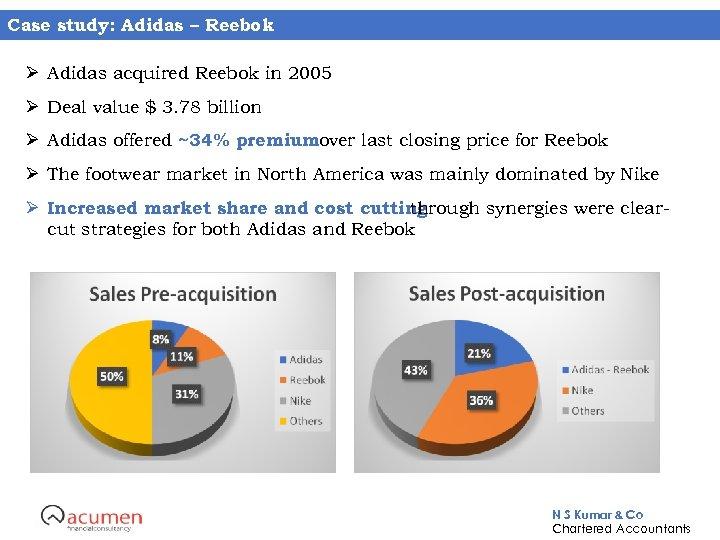 Case study: Adidas – Reebok Ø Adidas acquired Reebok in 2005 Ø Deal value