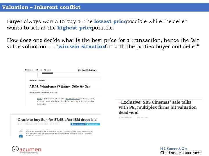 Valuation – Inherent conflict Buyer always wants to buy at the lowest pricepossible while