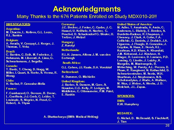 Acknowledgments Many Thanks to the 676 Patients Enrolled on Study MDX 010 -20!! INVESTIGATORS: