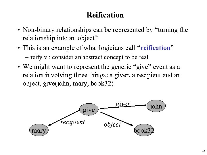 """Reification • Non-binary relationships can be represented by """"turning the relationship into an object"""""""