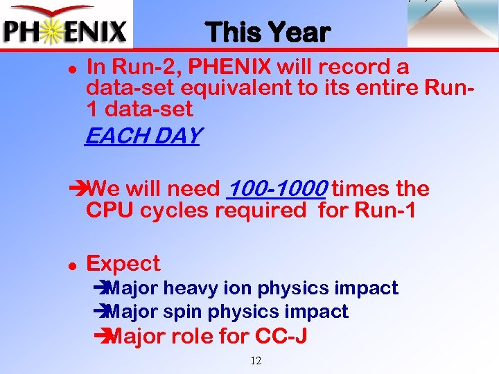 This Year l In Run-2, PHENIX will record a data-set equivalent to its entire
