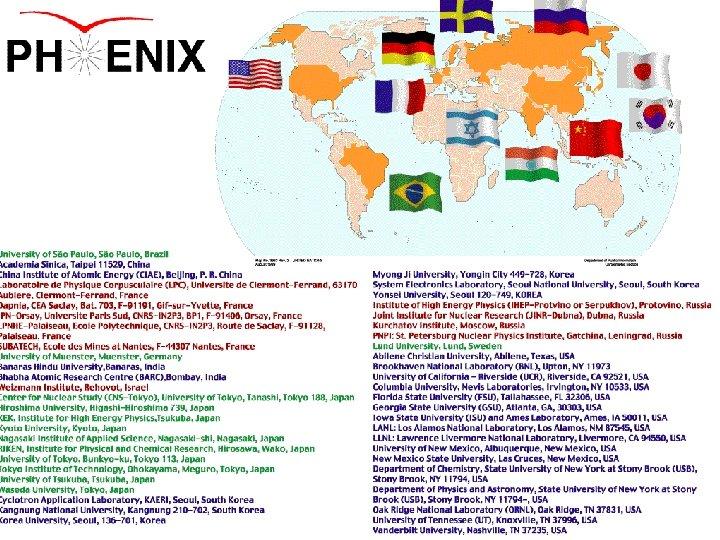 The PHENIX Collaboration A strongly international venture: è 11 nations Brazil, China, France, Germany,