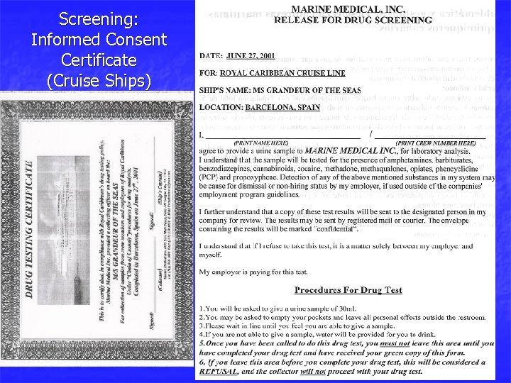 Screening: Informed Consent Certificate (Cruise Ships)
