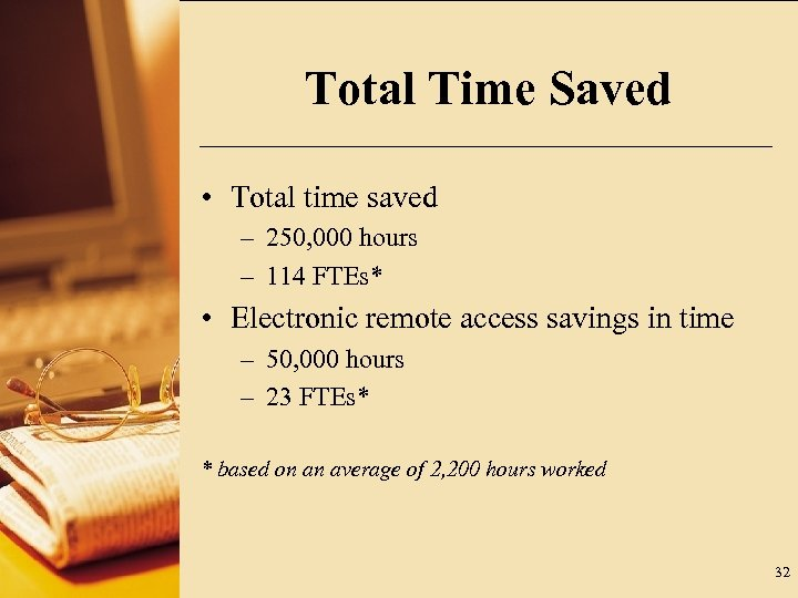 Total Time Saved • Total time saved – 250, 000 hours – 114 FTEs*