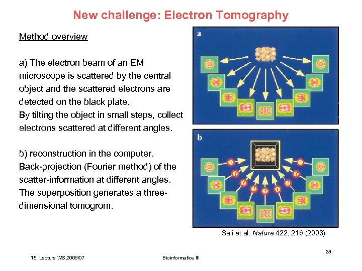 New challenge: Electron Tomography Method overview a) The electron beam of an EM microscope